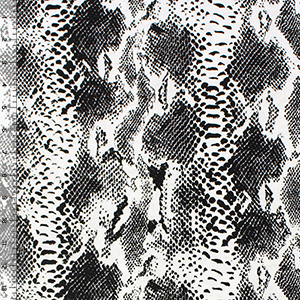 Black Faux Snake Skin on White Cotton Jersey Blend Knit Fabric