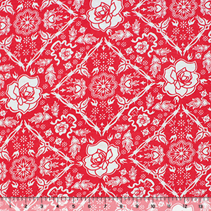 Red Rose Lattice Cotton Jersey Blend Knit Fabric