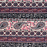 Taupe Navy Paisley Floral Rows Cotton Jersey Blend Knit Fabric