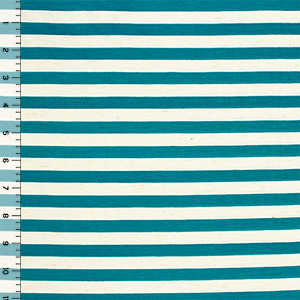 Deep Teal Oatmeal Half Inch Stripe Cotton Jersey Blend Knit Fabric