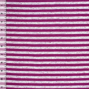 Magenta Small Stripe Tri Blend Cotton Jersey Knit Fabric