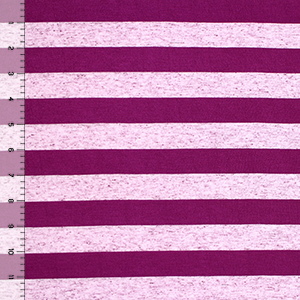 Magenta Stripe Tri Blend Cotton Jersey Knit Fabric