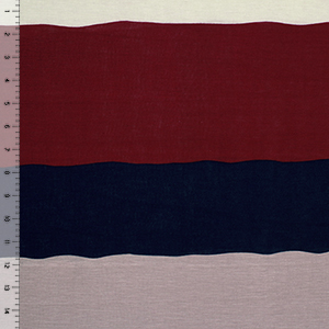 Burgundy Navy Taupe Wide Wavy Stripe Cotton Jersey Blend Knit Fabric