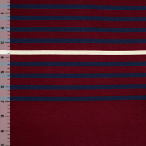 Half Yard Burgundy Navy Cream Multi Stripe Cotton Jersey Blend Knit Fabric
