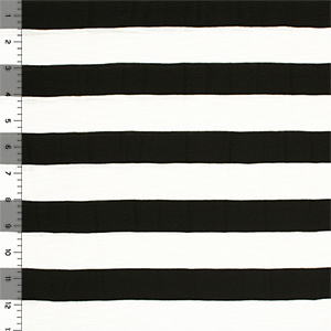Black White Stripe Slub Cotton Jersey Blend Knit Fabric