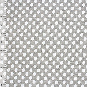 White Oval Dots on Heather Gray Cotton Jersey Blend Knit Fabric