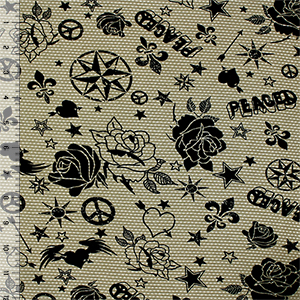 Half Yard Black Graffiti Stamps on Olive Green Cotton Jersey Blend Knit Fabric