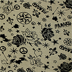 Black Graffiti Stamps on Olive Green Cotton Jersey Blend Knit Fabric