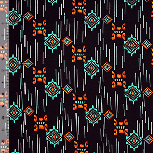 Aqua Orange Navajo Diamonds Cotton Jersey Knit Fabric
