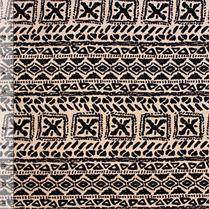 Cocoa Brown Small Ethnic Emblems Cotton Jersey Blend Knit Fabric