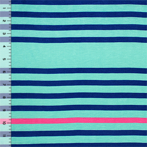 Blue Fuchsia Multi Stripe on Aqua Cotton Jersey Blend Knit Fabric
