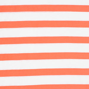Slightly Flawed Neon Coral White Stripe Cotton Jersey Knit Fabric