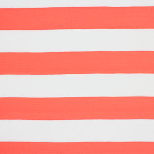 Slightly Flawed Neon Coral White Wide Stripe Cotton Jersey Knit Fabric