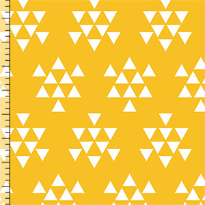 White Triangle Arrows on Gold Cotton Jersey Blend Knit Fabric
