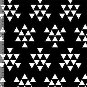 White Triangle Arrows on Black Cotton Jersey Blend Knit Fabric