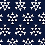 White Triangle Arrows on Oxford Blue Cotton Jersey Blend Knit Fabric