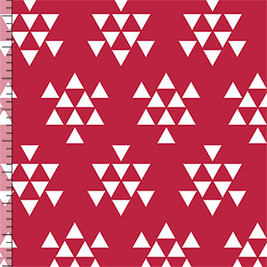 White Triangle Arrows on Samba Red Cotton Jersey Blend Knit Fabric