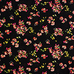 Bright Floral on Black Cotton Jersey Blend Knit Fabric