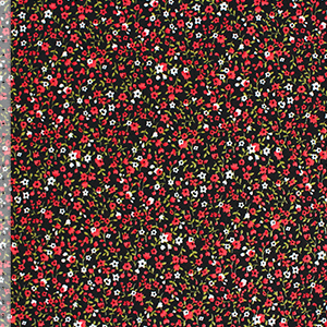 Red White Calico Floral on Black Cotton Jersey Blend Knit Fabric