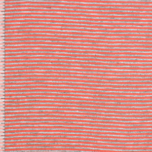 Heather Gray Coral Pink Pinstripe Cotton Jersey Blend Knit Fabric
