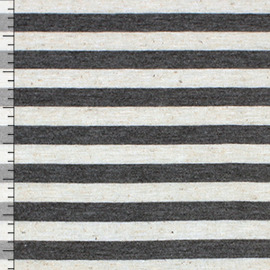 Charcoal Oatmeal Stripe Cotton Jersey Blend Knit Fabric