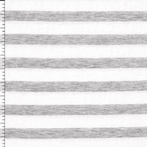 Heather Gray Stripe on White Cotton Jersey Knit Fabric