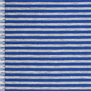 Royal Blue Heather Gray Small Stripe Cotton Jersey Blend Knit Fabric