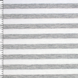 Half Inch Heather Gray White Stripe Cotton Jersey Knit Fabric