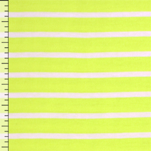 Slightly Flawed White Stripe on Neon Yellow Cotton Jersey Blend Knit Fabric