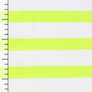 Slightly Flawed White Wide Neon Yellow Stripe Cotton Jersey Knit Fabric
