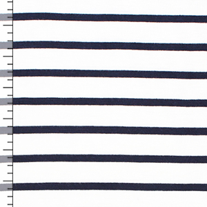 Small Black Stripe on White Cotton Jersey Knit Fabric