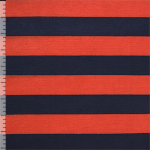 Navy Blue Coral Red Stripe Cotton Jersey Blend Knit Fabric