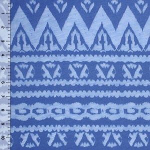 Cornflower Blue Ethnic Burnout Cotton Jersey Knit Fabric