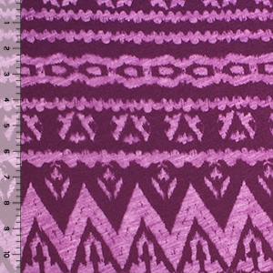 Magenta Purple Ethnic Burnout Cotton Jersey Knit Fabric