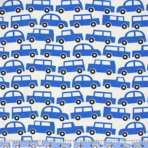 Slightly Flawed Blue Cars on Organic Cotton Jersey Knit Fabric