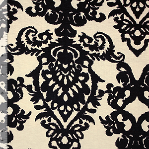 Big Damask on Ivory Cotton Jersey Blend Knit Fabric