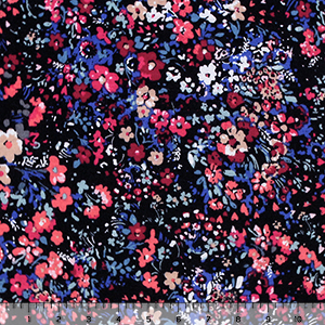 Berry Peach Small Floral Garden on Black Cotton Jersey Blend Knit Fabric
