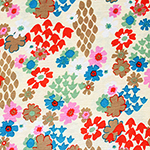 Bright Retro Floral on Cream Cotton Jersey Blend Knit Fabric