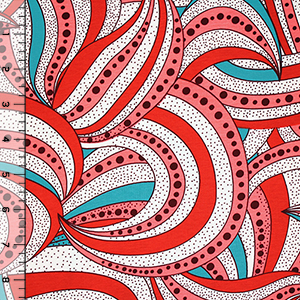 Coral Dotty Mod Swirls Cotton Jersey Blend Knit Fabric
