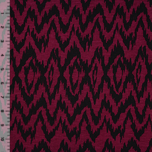 Black Ikat on Burgundy Cotton Jersey Blend Knit Fabric