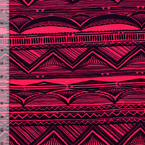 Black Art Deco on Fuchsia Slub Cotton Jersey Blend Knit Fabric
