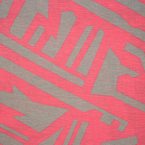 Half Yard Coral Pink Taupe Abstract Cotton Jersey Blend Knit Fabric