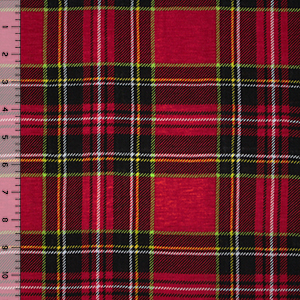 Black Red Green Plaid Cotton Jersey Blend Knit Fabric