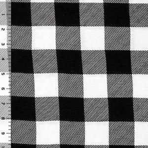 Big Black White Buffalo Plaid Cotton Jersey Blend Knit Fabric