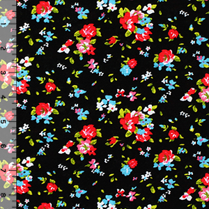 Fuchsia Blue Floral on Black Cotton Jersey Blend Knit Fabric