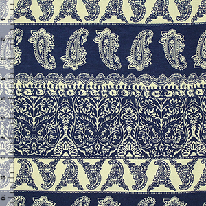 Blue Paisley Botanical Rows on Cream Cotton Jersey Blend Knit Fabric