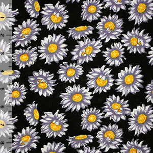 Purple Gray Hand Painted Daisy on Black Cotton Jersey Blend Knit Fabric