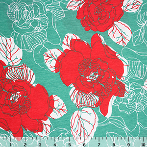 Teal Persimmon Peony Floral Cotton Jersey Blend Knit Fabric