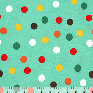 Red Peach Emerald Multi Dot Cotton Jersey Blend Knit Fabric