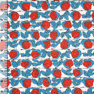 Red Blue Rosebud Rows Cotton Jersey Blend Knit Fabric
